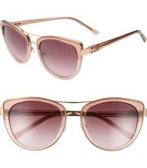 women's ted baker london 54mm cat eye sunglasses - blush/ gold/ purple
