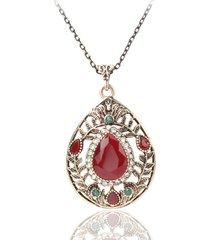 collana pendente vintage collana a goccia cava gemma rossa goccia d'acqua gioielli etnici per le donne