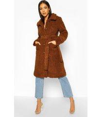 longline teddy belted coat, camel