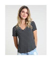 camiseta feminina básica listrada manga curta decote v preta