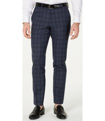 hugo men's slim-fit blue glen plaid suit pants