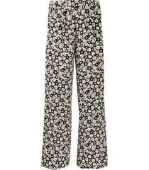aspesi floral-print silk trousers - blue
