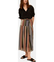 mango striped midi skirt