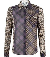 blouse met ruit, blokken en luipaard dessin