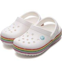 babuche crocs infantil rainbow glitter branco