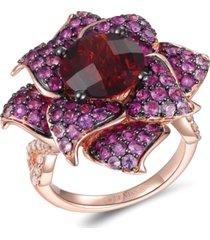 le vian multi-gemstone (7-1/10 ct. t.w.) & nude diamond (3/8 ct. t.w.) flower statement ring in 14k rose gold