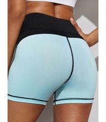 leggings de cintura media de patchwork azul