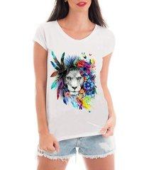 blusa criativa urbana t-shirt leoa psicodélica