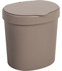lixeira basic com tampa 2,5 litros 17,5x15x18,2cm warm gray - 10906/0126 - coza - coza