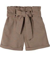 hundtandsmönstrade shorts med hög midja