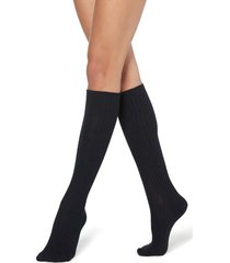 calzedonia long ribbed socks with wool and cashmere woman blue size tu