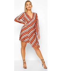 plus multi stripe wrap dress, wine