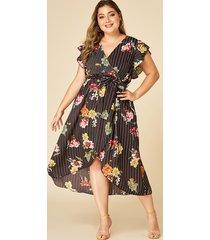 yoins plus talla black wrap diseño rayas de estampado floral al azar vestido