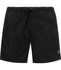 stone island creased swim shorts - black