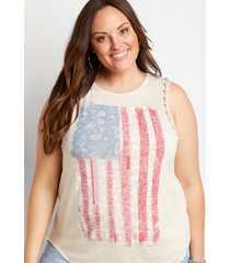 maurices plus size womens tan americana braided arm tank top beige