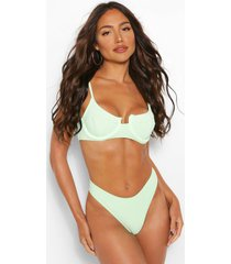 crinkle underwired bikini top, green