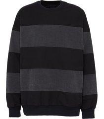 denim blend striped sweatshirt
