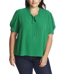 plus size ruffled top with bow