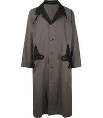 yohji yamamoto two-tone duster coat - black
