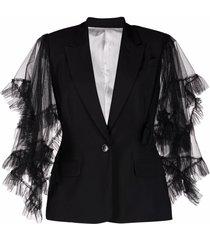 act n°1 tulle-sleeves blazer - black