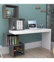 mesa escrivaninha 4 nichos branco/grafite esc3004 - appunto