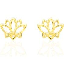 orecchini a lobo fiore di loto in oro giallo per donna