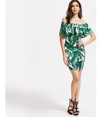 sexy skinny printed dress women summer short sleeve neck mini dress banana leaf