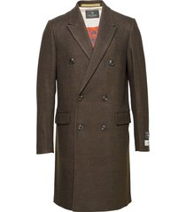 classic double-breasted twill wool coat wollen jas lange jas bruin scotch & soda
