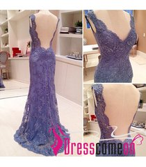 sexy mermaid v neck lace prom dress,blue lavender lace evening/party dresses q19