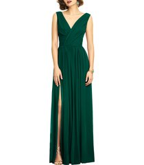 women's dessy collection surplice ruched chiffon gown, size 20 - green