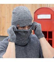 winter cap 3 pcs wool knitted hats scarf and gloves set for men women beanies ne