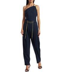 oscar de la renta women's chain shoulder strap stretch-wool jumpsuit - navy - size 10