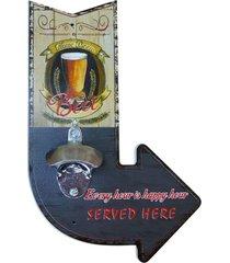 abridor de garrafa de madeira seta beer - multicolorido - dafiti