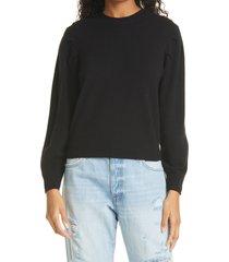 women's frame finn puff sleeve cashmere sweater, size small - black
