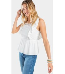arial crochet open back blouse - white
