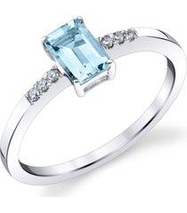 aquamarine (5/8 ct. t.w.) & diamond (1/20 ct. t.w.) ring in 14k white gold