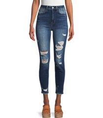 flying monkey women's high-rise distressed super skinny jeans - medium dark - size 28 (4-6)