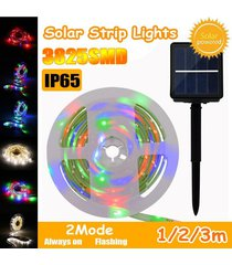 media / 3m ip65 3825smd modos impermeable led de cadena tira de la luz de la lámpara fairy + panel de batería solar - albaricoque
