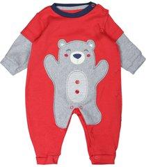 macacã£o longo feito em suedine bordado urso vermelho curioso vermelho - vermelho - menino - dafiti