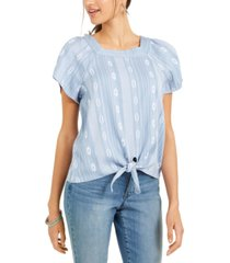 style & co printed square-neck tie-front top, created for macy's