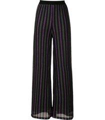 eva lurex striped wide trousers - black