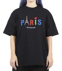 balenciaga black paris love t-shirt