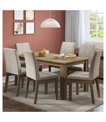 conjunto sala de jantar madesa cibele mesa tampo de madeira com 6 cadeiras rustic/fendi rustic