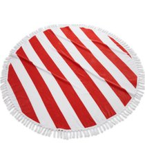 cassadecor round stripe fringe cotton beach towel bedding