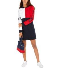 tommy hilfiger colorblocked hoodie dress