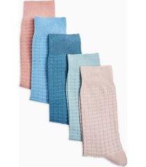 mens multi waffle socks 5 pack