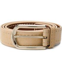 brioni stitched buckled belt - neutrals