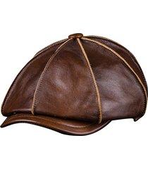 uomo berretto ottangnale in pelle vera comoda casual cappello vintage a newsboy a guida