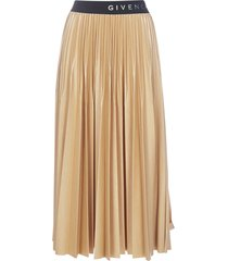 givenchy logo pleated midi skirt