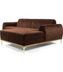 sofá 3 lugares com chaise esquerdo base de madeira euro 230 cm veludo marrom - gran belo